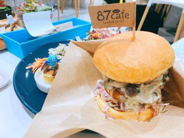 【87cafe(ハナカフェ)】ゴルゴンゾーラきのこのBigなハンバーガー!焼きマシュマロミルクティも新発売☆