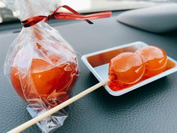 【元祖飴屋(がんそあめや)移動販売】りんご飴やぶどう飴おいしい☆カラフルなわたあめも可愛いですね。