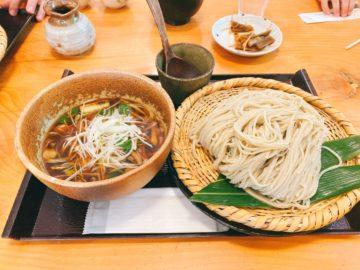 【奥社前なおすけ】信州戸隠奥社の蕎麦処。鴨ざるそば、めっちゃ美味しかった!奥社の入り口を眺めながら。